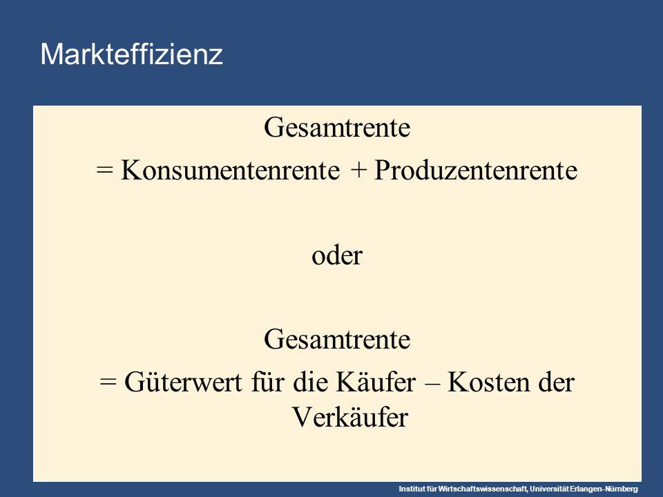 Institut für Wirtschaftswissenschaft, Universität Erlangen-Nürnberg Markteffizienz Gesamtrente = Konsumentenrente + Produzentenrente oder Gesamtrente = Güterwert für die Käufer – Kosten der Verkäufer