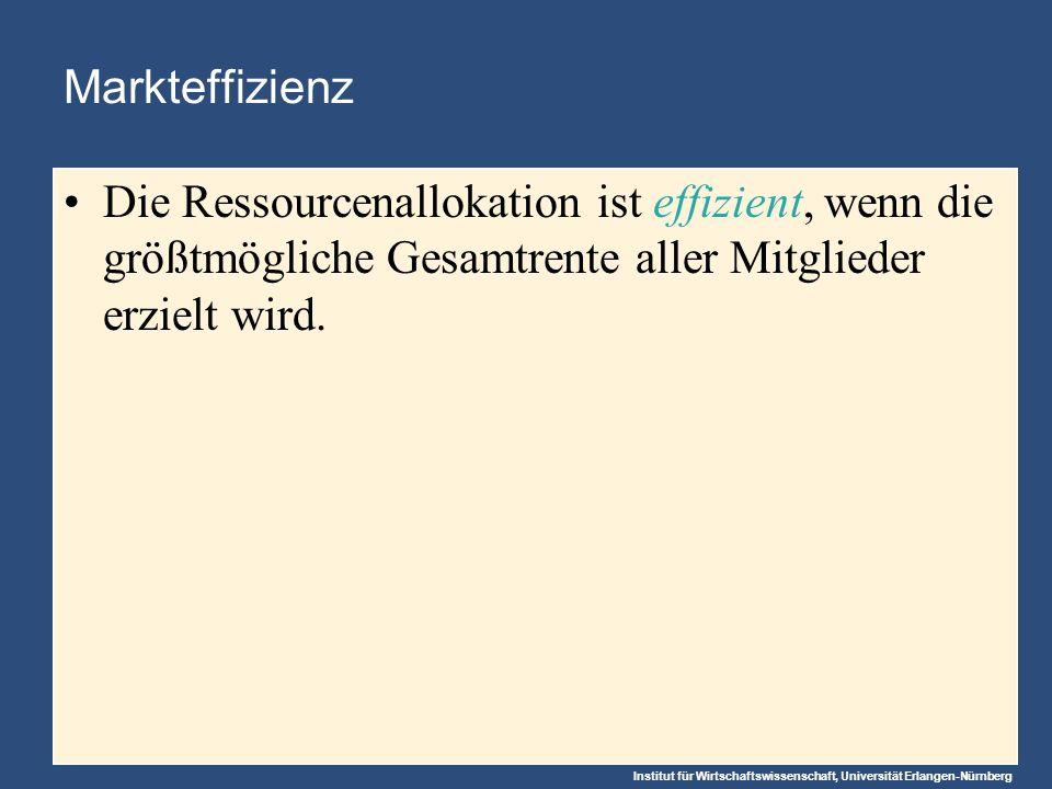 Institut für Wirtschaftswissenschaft, Universität Erlangen-Nürnberg Markteffizienz Die Ressourcenallokation ist effizient, wenn die größtmögliche Gesamtrente aller Mitglieder erzielt wird.
