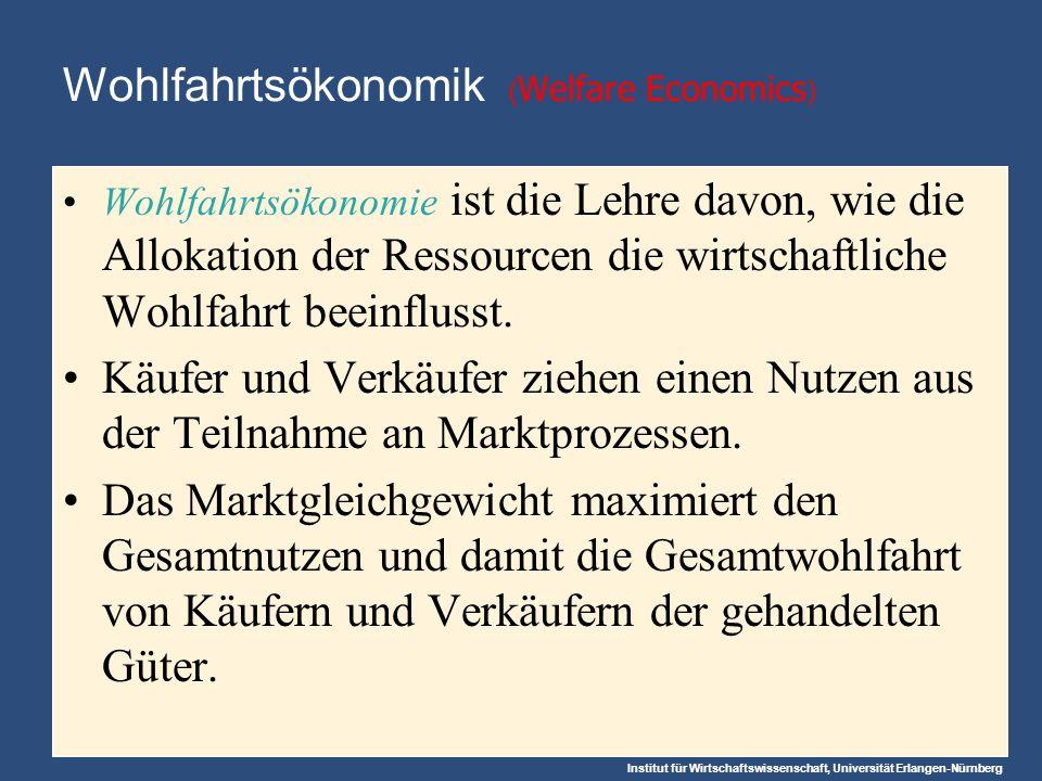 Institut für Wirtschaftswissenschaft, Universität Erlangen-Nürnberg Wohlfahrtsökonomik ( Welfare Economics ) Wohlfahrtsökonomie ist die Lehre davon, wie die Allokation der Ressourcen die wirtschaftliche Wohlfahrt beeinflusst.