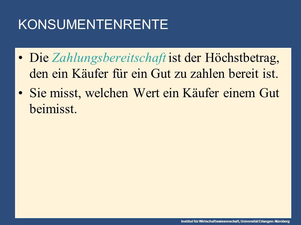 Institut für Wirtschaftswissenschaft, Universität Erlangen-Nürnberg KONSUMENTENRENTE Die Zahlungsbereitschaft ist der Höchstbetrag, den ein Käufer für ein Gut zu zahlen bereit ist.
