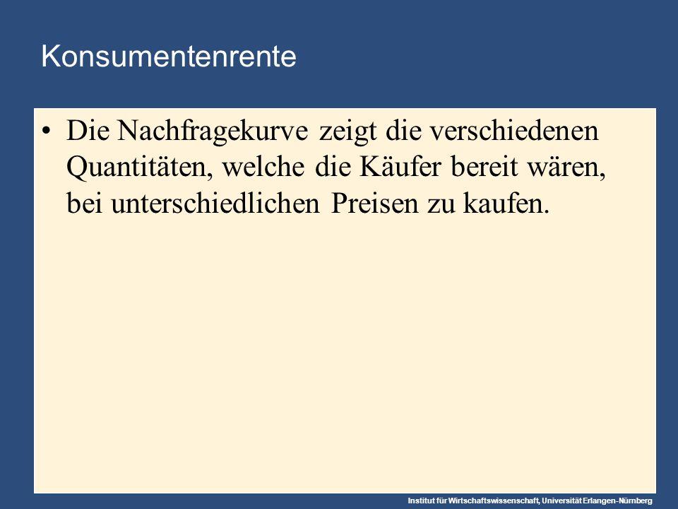 Institut für Wirtschaftswissenschaft, Universität Erlangen-Nürnberg Konsumentenrente Die Nachfragekurve zeigt die verschiedenen Quantitäten, welche die Käufer bereit wären, bei unterschiedlichen Preisen zu kaufen.