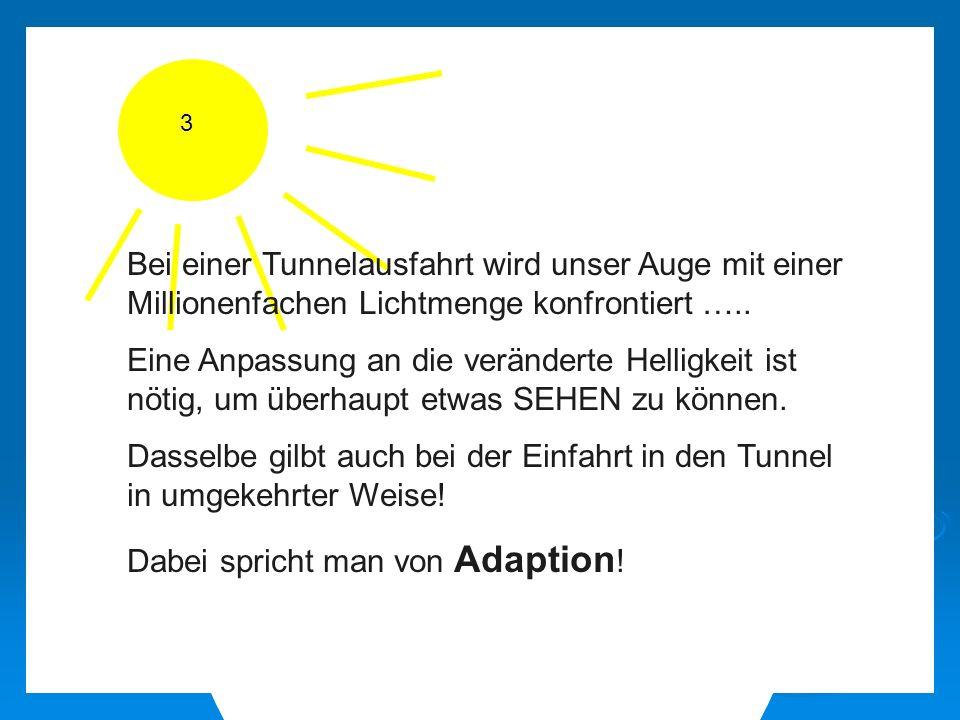 Bei einer Tunnelausfahrt wird unser Auge mit einer Millionenfachen Lichtmenge konfrontiert …..