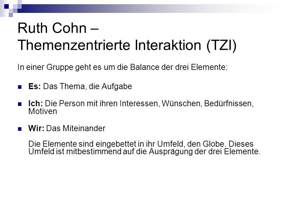 Ruth Cohn – Themenzentrierte Interaktion (TZI) In einer Gruppe geht es um die Balance der drei Elemente: Es: Das Thema, die Aufgabe Ich: Die Person mi