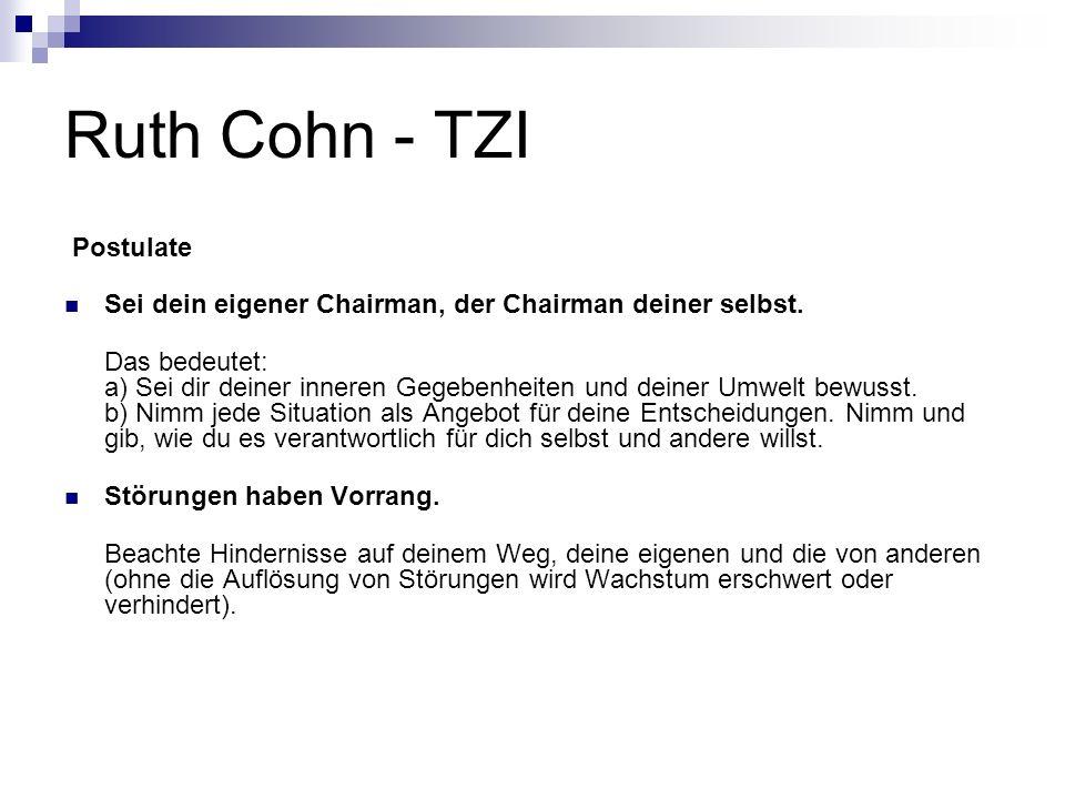 Ruth Cohn - TZI Postulate Sei dein eigener Chairman, der Chairman deiner selbst. Das bedeutet: a) Sei dir deiner inneren Gegebenheiten und deiner Umwe