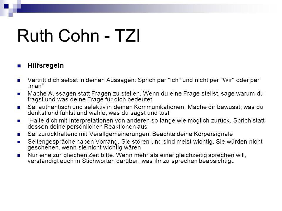 Ruth Cohn - TZI Hilfsregeln Vertritt dich selbst in deinen Aussagen: Sprich per