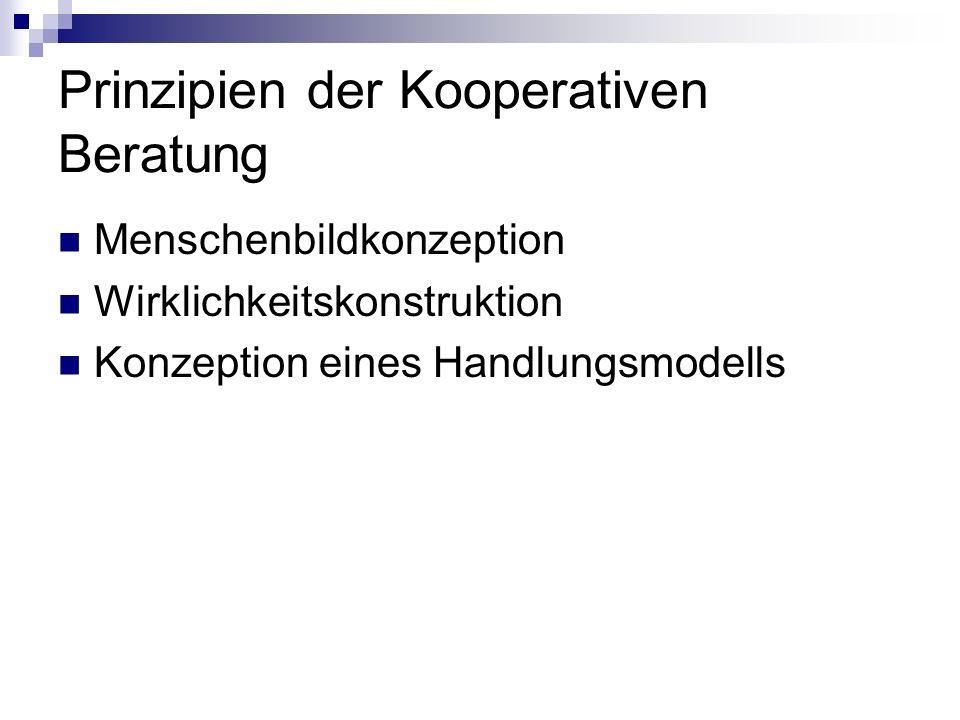 Prinzipien der Kooperativen Beratung Menschenbildkonzeption Wirklichkeitskonstruktion Konzeption eines Handlungsmodells