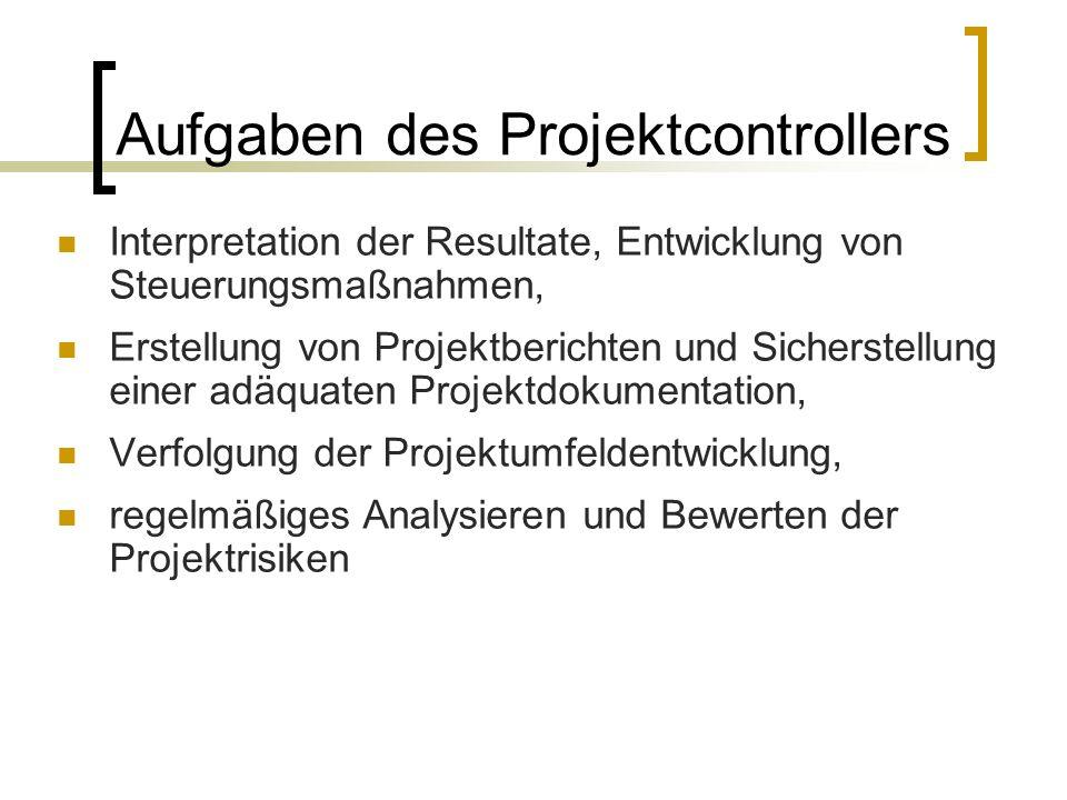 Aufgaben des Projektcontrollers Interpretation der Resultate, Entwicklung von Steuerungsmaßnahmen, Erstellung von Projektberichten und Sicherstellung