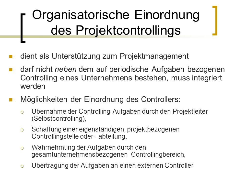 Organisatorische Einordnung des Projektcontrollings dient als Unterstützung zum Projektmanagement darf nicht neben dem auf periodische Aufgaben bezoge