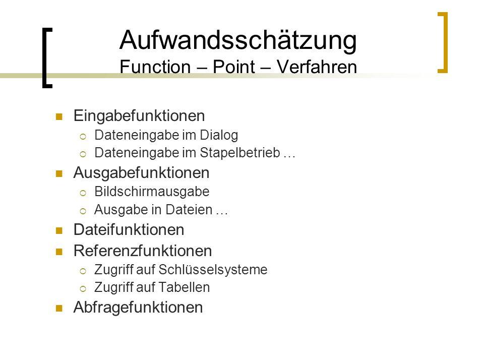 Aufwandsschätzung Function – Point – Verfahren Eingabefunktionen Dateneingabe im Dialog Dateneingabe im Stapelbetrieb … Ausgabefunktionen Bildschirmau