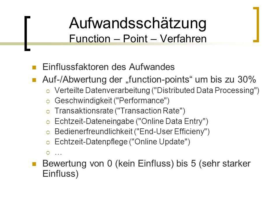 Aufwandsschätzung Function – Point – Verfahren Einflussfaktoren des Aufwandes Auf-/Abwertung der function-points um bis zu 30% Verteilte Datenverarbei