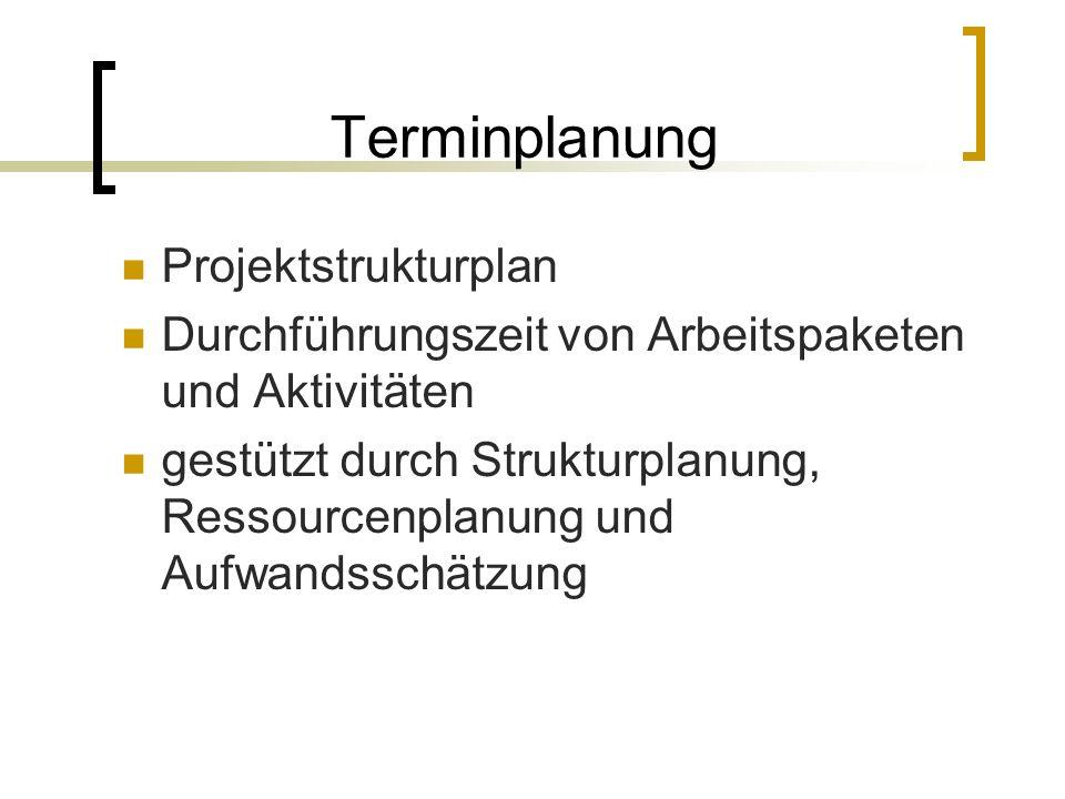 Terminplanung Projektstrukturplan Durchführungszeit von Arbeitspaketen und Aktivitäten gestützt durch Strukturplanung, Ressourcenplanung und Aufwandss