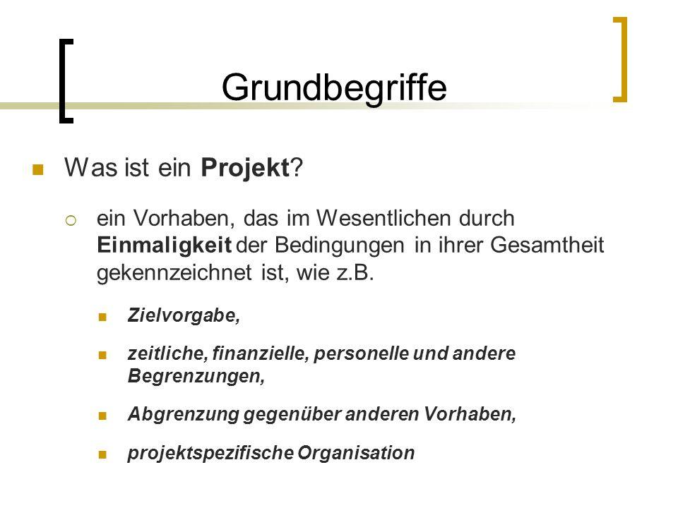 Grundbegriffe Was ist ein Projekt? ein Vorhaben, das im Wesentlichen durch Einmaligkeit der Bedingungen in ihrer Gesamtheit gekennzeichnet ist, wie z.