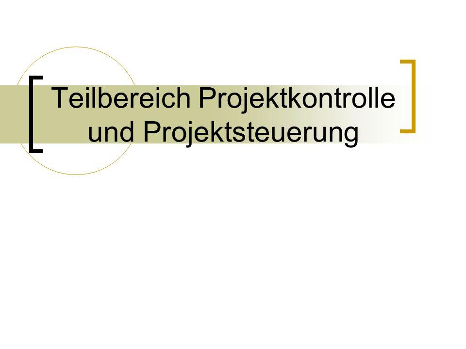 Teilbereich Projektkontrolle und Projektsteuerung