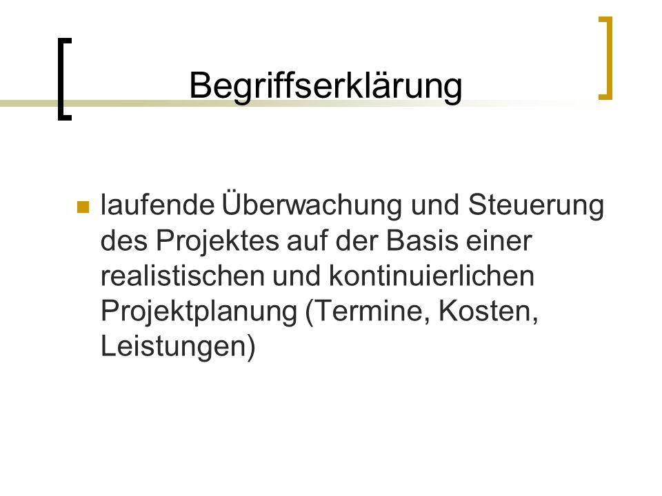 Begriffserklärung laufende Überwachung und Steuerung des Projektes auf der Basis einer realistischen und kontinuierlichen Projektplanung (Termine, Kos