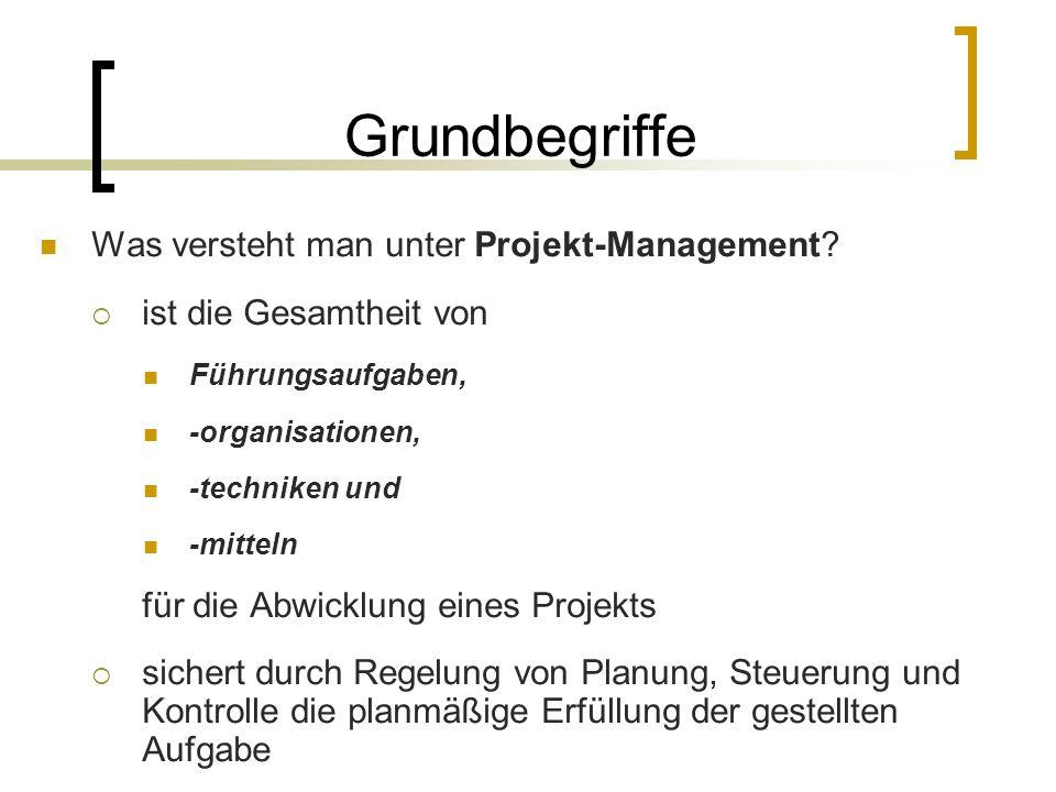 Grundbegriffe Was versteht man unter Projekt-Management? ist die Gesamtheit von Führungsaufgaben, -organisationen, -techniken und -mitteln für die Abw