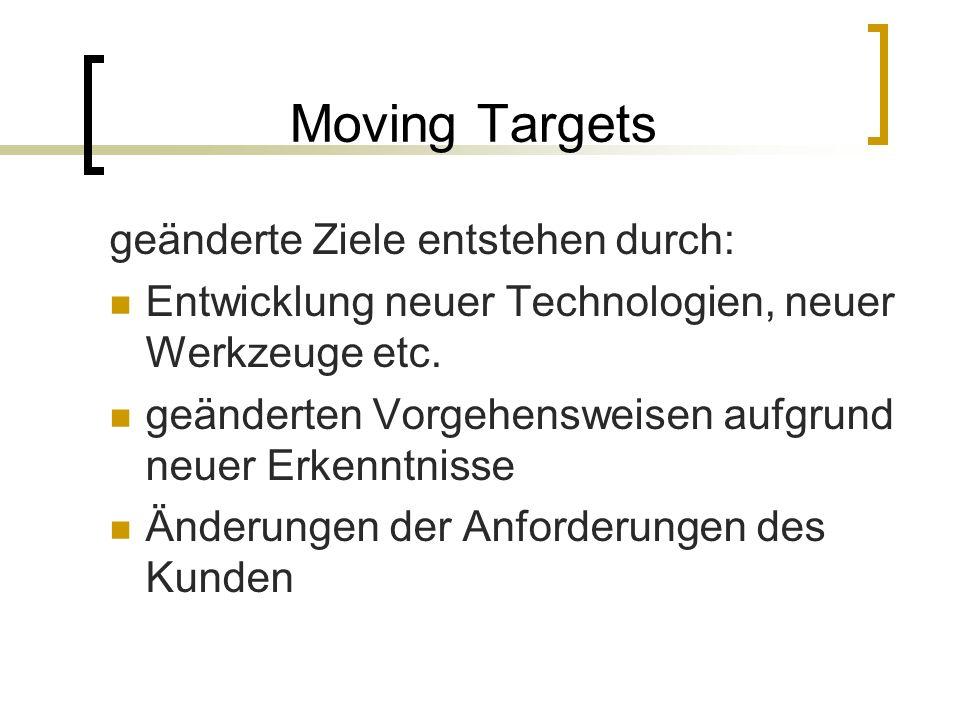 Moving Targets geänderte Ziele entstehen durch: Entwicklung neuer Technologien, neuer Werkzeuge etc. geänderten Vorgehensweisen aufgrund neuer Erkennt