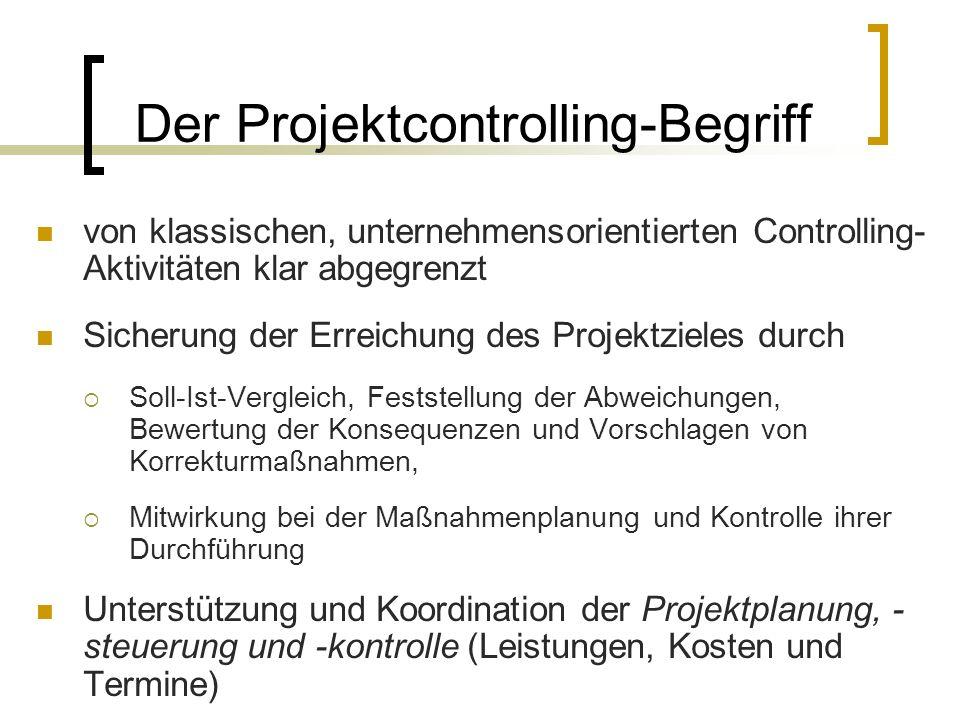 Der Projektcontrolling-Begriff von klassischen, unternehmensorientierten Controlling- Aktivitäten klar abgegrenzt Sicherung der Erreichung des Projekt