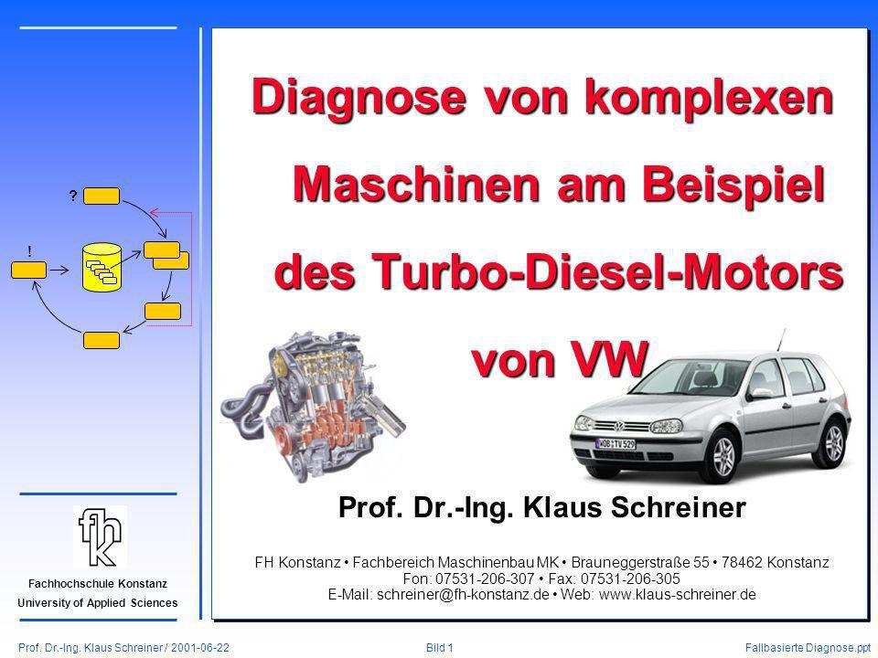 Prof. Dr.-Ing. Klaus Schreiner / 2001-06-22 Fallbasierte Diagnose.ppt Bild 1 Fachhochschule Konstanz University of Applied Sciences ? ! Diagnose von k