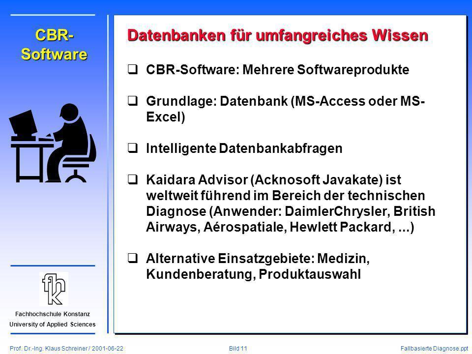 Prof. Dr.-Ing. Klaus Schreiner / 2001-06-22 Fallbasierte Diagnose.ppt Bild 11 Fachhochschule Konstanz University of Applied Sciences CBR- Software Dat