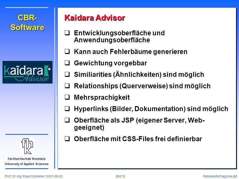 Prof. Dr.-Ing. Klaus Schreiner / 2001-06-22 Fallbasierte Diagnose.ppt Bild 12 Fachhochschule Konstanz University of Applied Sciences CBR- Software Kai