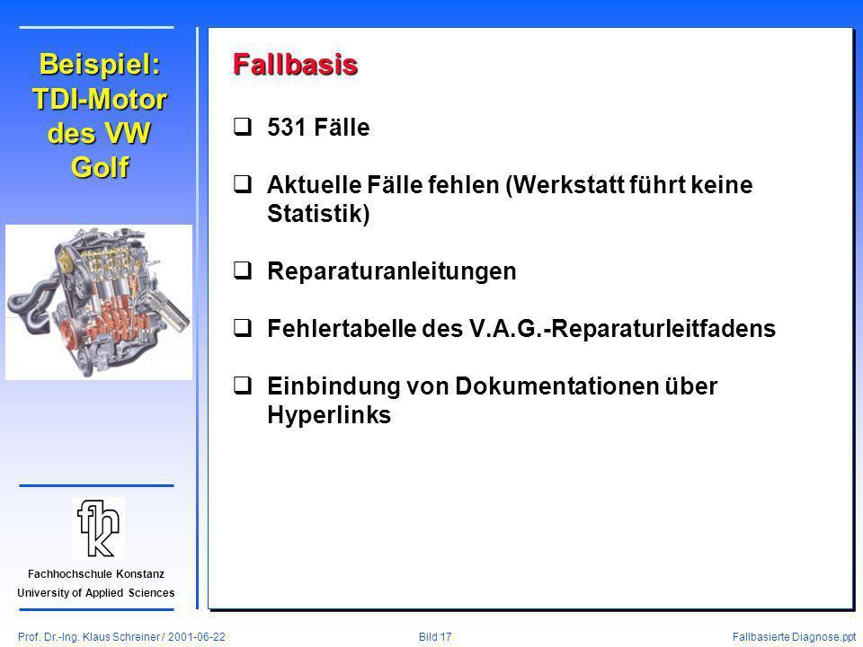 Prof. Dr.-Ing. Klaus Schreiner / 2001-06-22 Fallbasierte Diagnose.ppt Bild 17 Fachhochschule Konstanz University of Applied Sciences Beispiel: TDI-Mot