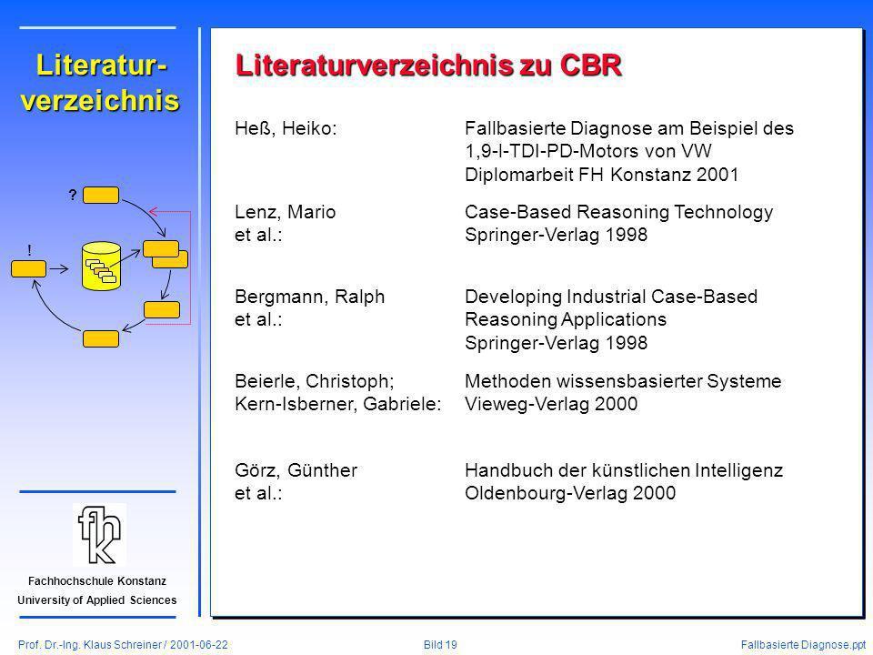 Prof. Dr.-Ing. Klaus Schreiner / 2001-06-22 Fallbasierte Diagnose.ppt Bild 19 Fachhochschule Konstanz University of Applied Sciences Literatur- verzei