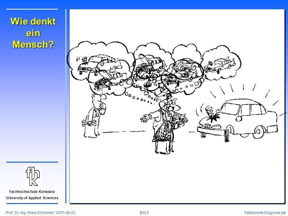 Prof. Dr.-Ing. Klaus Schreiner / 2001-06-22 Fallbasierte Diagnose.ppt Bild 5 Fachhochschule Konstanz University of Applied Sciences Wie denkt ein Mens