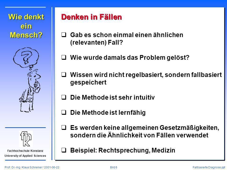 Prof. Dr.-Ing. Klaus Schreiner / 2001-06-22 Fallbasierte Diagnose.ppt Bild 6 Fachhochschule Konstanz University of Applied Sciences Wie denkt ein Mens