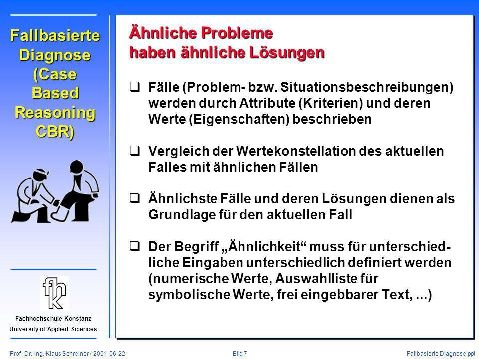 Prof. Dr.-Ing. Klaus Schreiner / 2001-06-22 Fallbasierte Diagnose.ppt Bild 7 Fachhochschule Konstanz University of Applied Sciences Fallbasierte Diagn