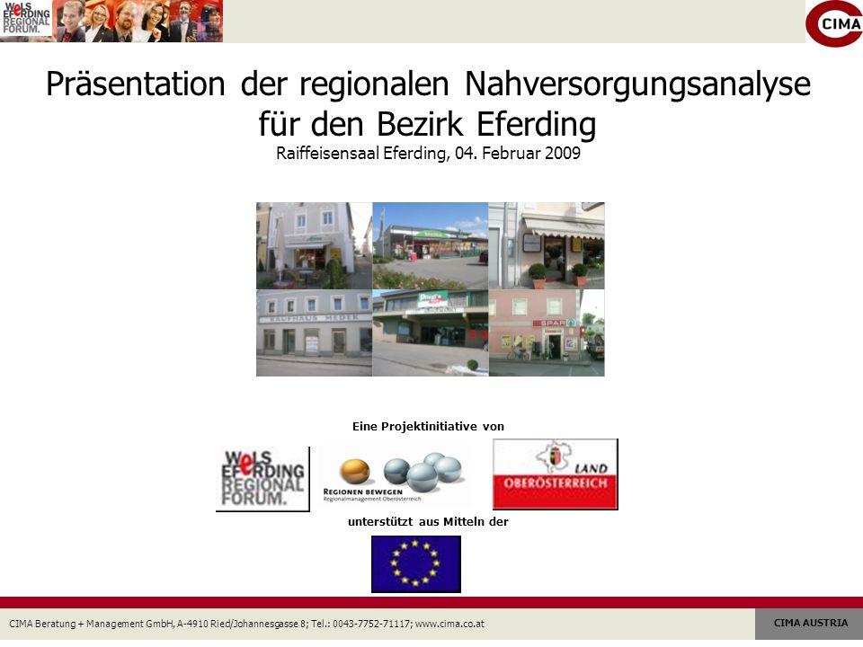 CIMA Beratung + Management GmbH, A-4910 Ried/Johannesgasse 8; Tel.: 0043-7752-71117; www.cima.co.at CIMA AUSTRIA Präsentation der regionalen Nahversorgungsanalyse für den Bezirk Eferding Raiffeisensaal Eferding, 04.