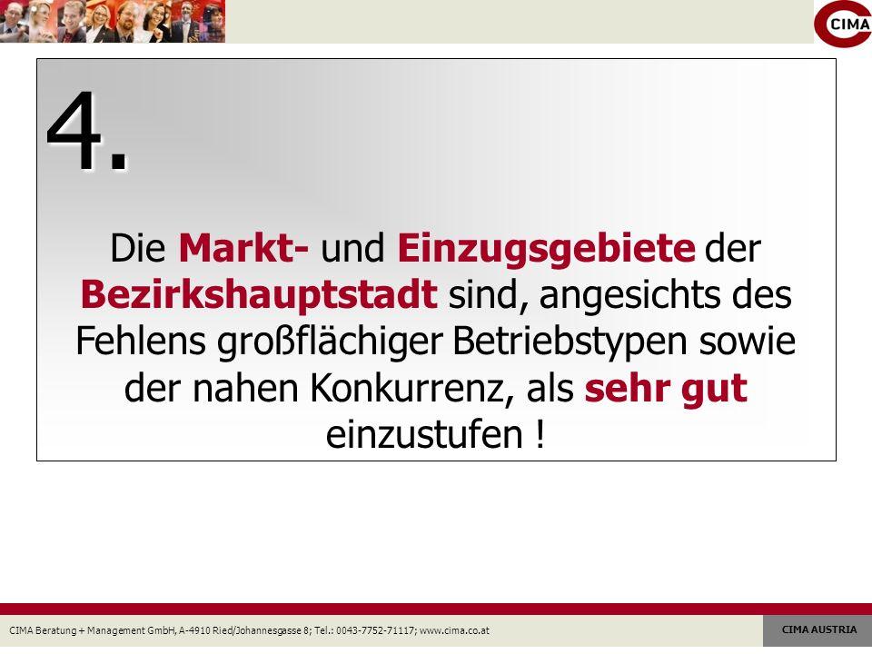 CIMA Beratung + Management GmbH, A-4910 Ried/Johannesgasse 8; Tel.: 0043-7752-71117; www.cima.co.at CIMA AUSTRIA 4. Die Markt- und Einzugsgebiete der