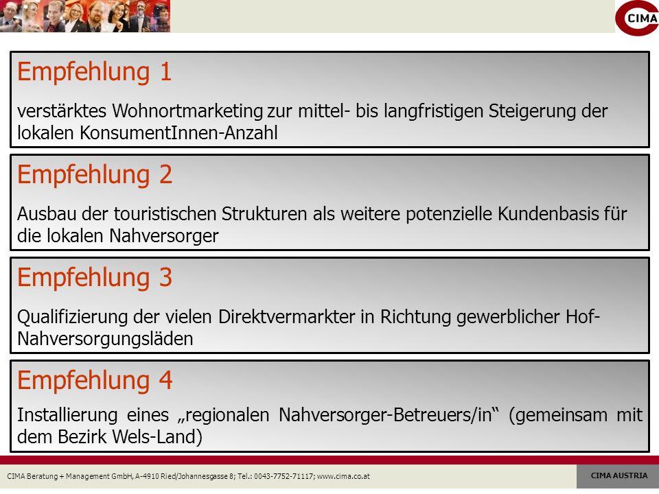 CIMA Beratung + Management GmbH, A-4910 Ried/Johannesgasse 8; Tel.: 0043-7752-71117; www.cima.co.at CIMA AUSTRIA Empfehlung 1 verstärktes Wohnortmarke