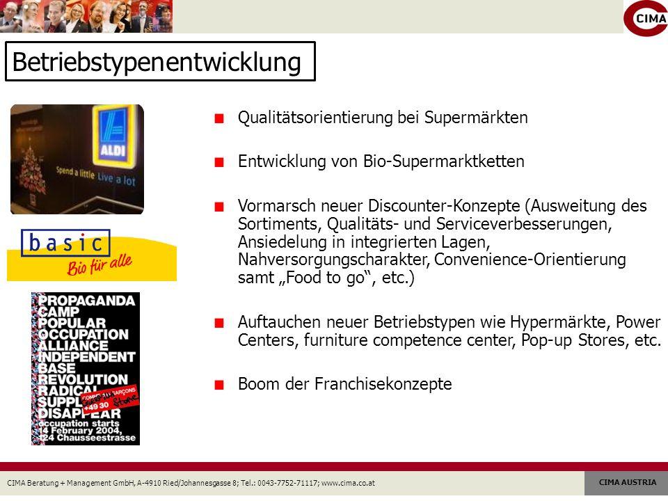 CIMA Beratung + Management GmbH, A-4910 Ried/Johannesgasse 8; Tel.: 0043-7752-71117; www.cima.co.at CIMA AUSTRIA Betriebstypenentwicklung Qualitätsori