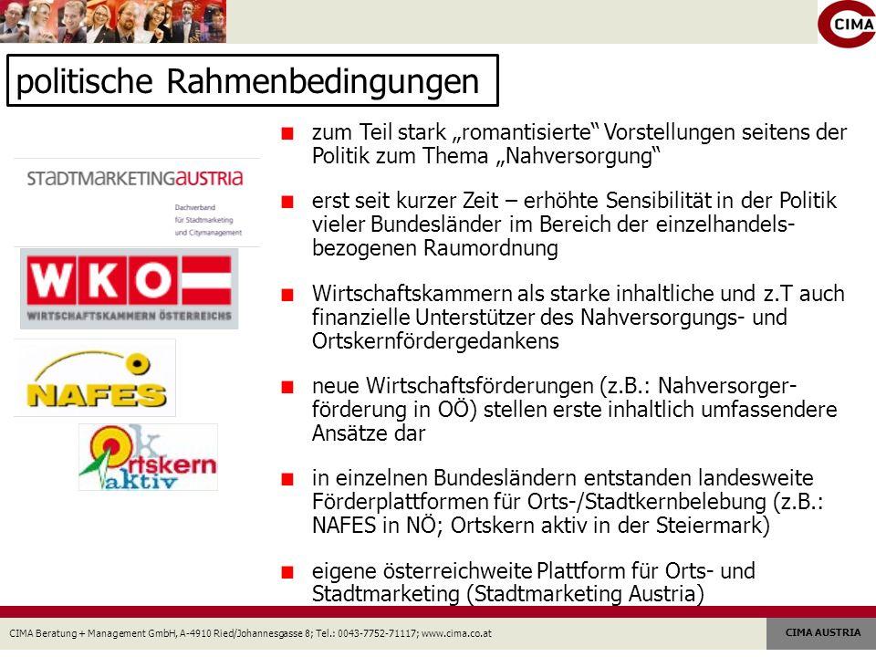 CIMA Beratung + Management GmbH, A-4910 Ried/Johannesgasse 8; Tel.: 0043-7752-71117; www.cima.co.at CIMA AUSTRIA Kernaussagen zur Nahversorger- bzw.
