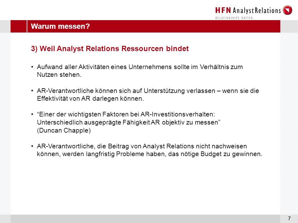 7 3) Weil Analyst Relations Ressourcen bindet Aufwand aller Aktivitäten eines Unternehmens sollte im Verhältnis zum Nutzen stehen.