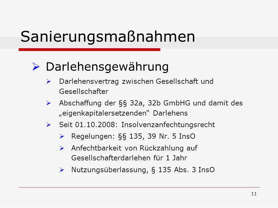 11 Sanierungsmaßnahmen Darlehensgewährung Darlehensvertrag zwischen Gesellschaft und Gesellschafter Abschaffung der §§ 32a, 32b GmbHG und damit des ei