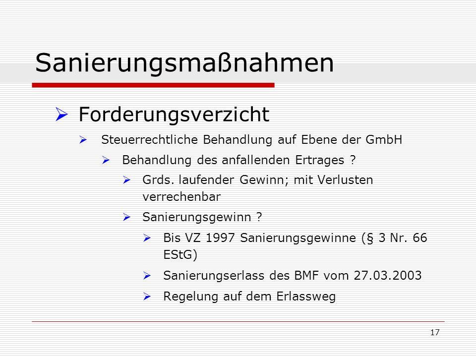 17 Sanierungsmaßnahmen Forderungsverzicht Steuerrechtliche Behandlung auf Ebene der GmbH Behandlung des anfallenden Ertrages ? Grds. laufender Gewinn;