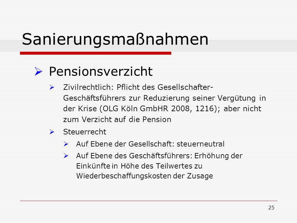 25 Sanierungsmaßnahmen Pensionsverzicht Zivilrechtlich: Pflicht des Gesellschafter- Geschäftsführers zur Reduzierung seiner Vergütung in der Krise (OL