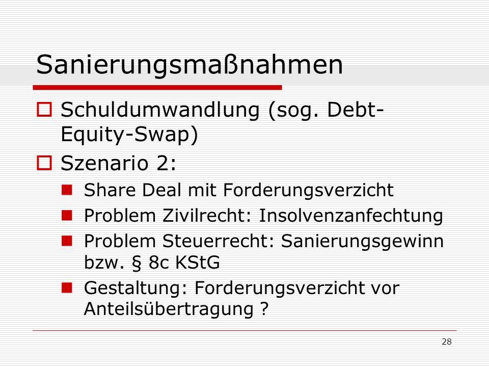 28 Sanierungsmaßnahmen Schuldumwandlung (sog. Debt- Equity-Swap) Szenario 2: Share Deal mit Forderungsverzicht Problem Zivilrecht: Insolvenzanfechtung