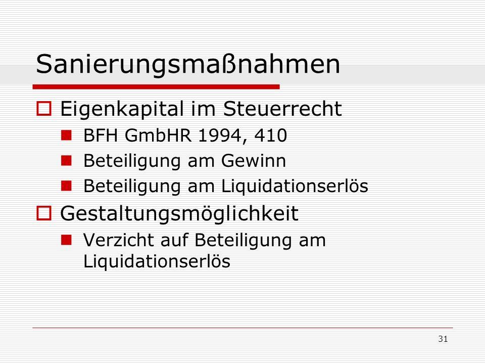 31 Sanierungsmaßnahmen Eigenkapital im Steuerrecht BFH GmbHR 1994, 410 Beteiligung am Gewinn Beteiligung am Liquidationserlös Gestaltungsmöglichkeit V