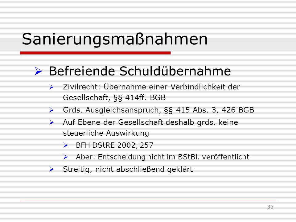 35 Sanierungsmaßnahmen Befreiende Schuldübernahme Zivilrecht: Übernahme einer Verbindlichkeit der Gesellschaft, §§ 414ff. BGB Grds. Ausgleichsanspruch