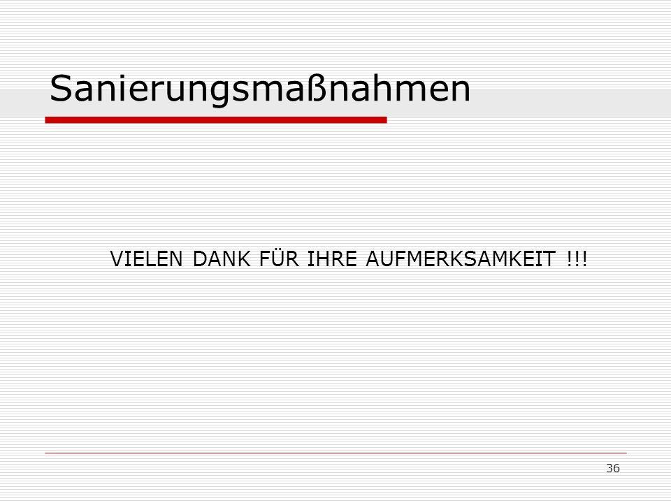 36 Sanierungsmaßnahmen VIELEN DANK FÜR IHRE AUFMERKSAMKEIT !!!