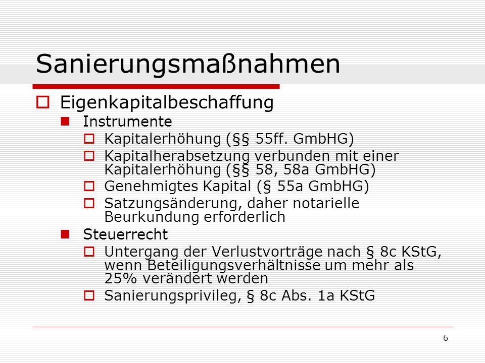 6 Sanierungsmaßnahmen Eigenkapitalbeschaffung Instrumente Kapitalerhöhung (§§ 55ff. GmbHG) Kapitalherabsetzung verbunden mit einer Kapitalerhöhung (§§