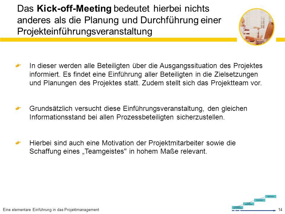 14 Das Kick-off-Meeting bedeutet hierbei nichts anderes als die Planung und Durchführung einer Projekteinführungsveranstaltung In dieser werden alle Beteiligten über die Ausgangssituation des Projektes informiert.