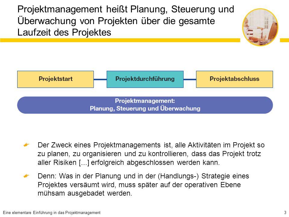 3 Projektmanagement heißt Planung, Steuerung und Überwachung von Projekten über die gesamte Laufzeit des Projektes Der Zweck eines Projektmanagements ist, alle Aktivitäten im Projekt so zu planen, zu organisieren und zu kontrollieren, dass das Projekt trotz aller Risiken [...] erfolgreich abgeschlossen werden kann.