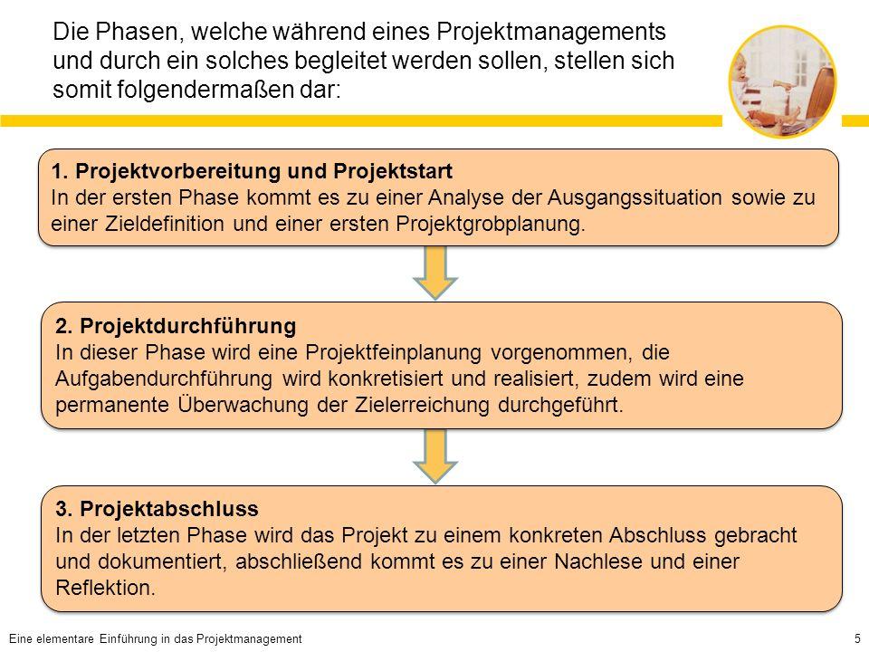 5 Die Phasen, welche während eines Projektmanagements und durch ein solches begleitet werden sollen, stellen sich somit folgendermaßen dar: 1.