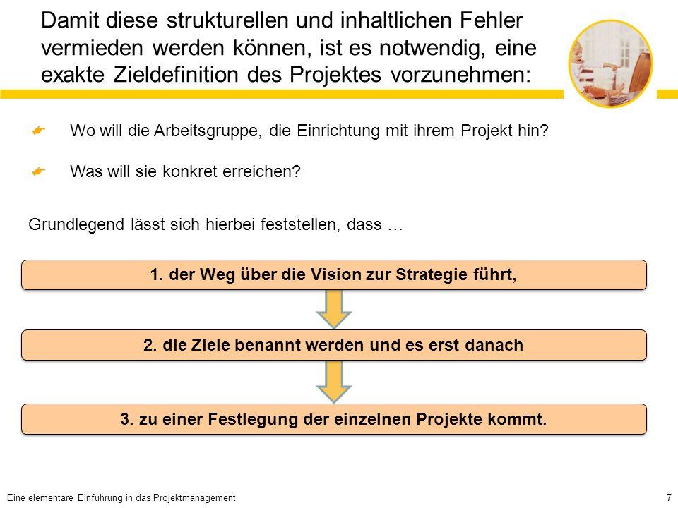 7 Damit diese strukturellen und inhaltlichen Fehler vermieden werden können, ist es notwendig, eine exakte Zieldefinition des Projektes vorzunehmen: Wo will die Arbeitsgruppe, die Einrichtung mit ihrem Projekt hin.
