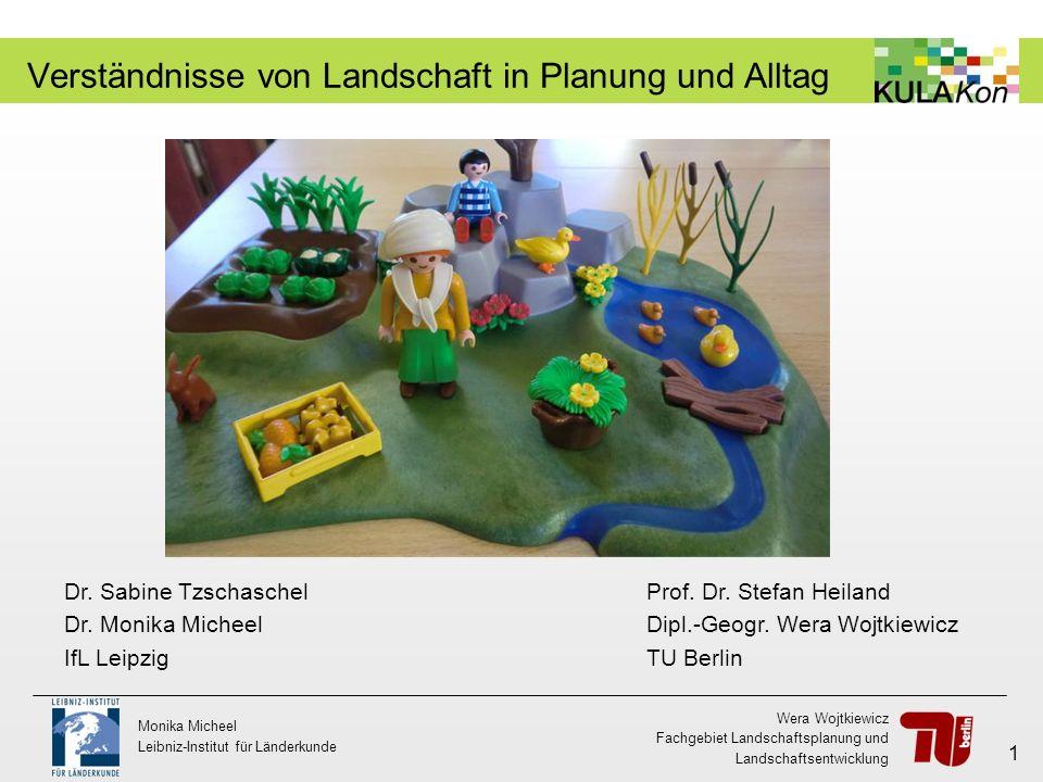 Wera Wojtkiewicz Fachgebiet Landschaftsplanung und Landschaftsentwicklung Monika Micheel Leibniz-Institut für Länderkunde 12 Gegenüberstellung der Landschaftsverständnisse 1.