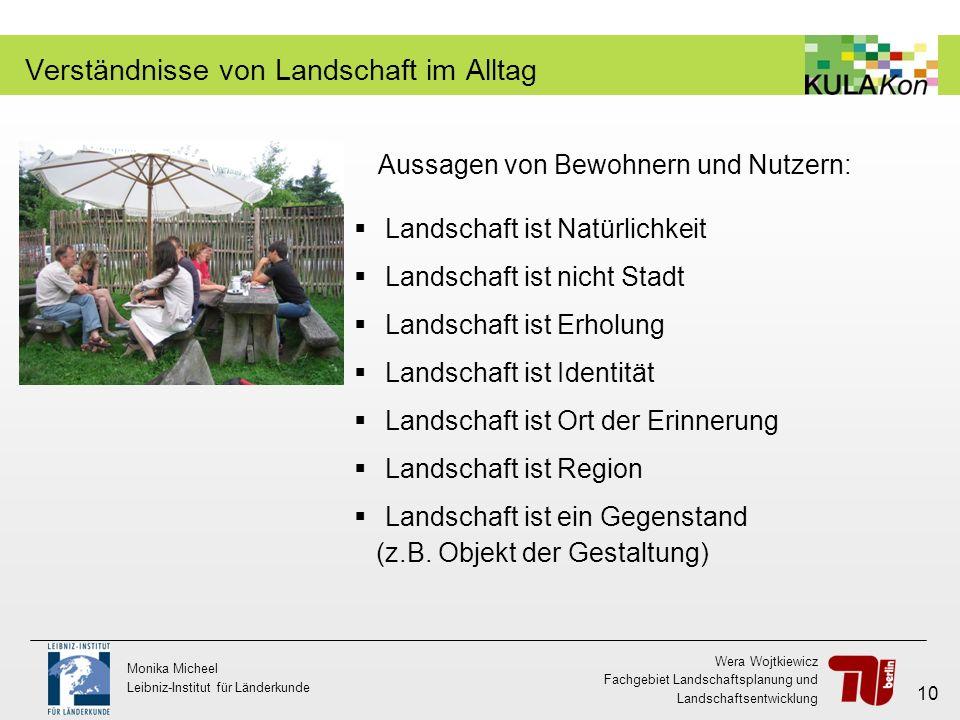 Wera Wojtkiewicz Fachgebiet Landschaftsplanung und Landschaftsentwicklung Monika Micheel Leibniz-Institut für Länderkunde 10 Verständnisse von Landsch
