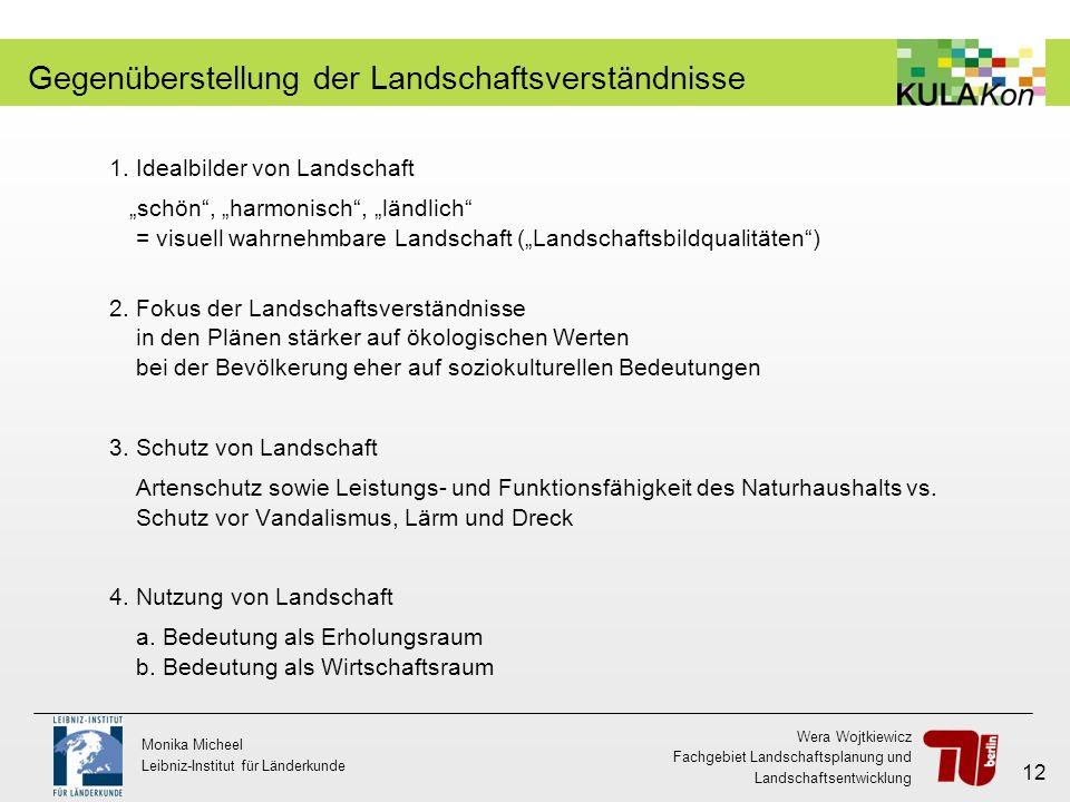 Wera Wojtkiewicz Fachgebiet Landschaftsplanung und Landschaftsentwicklung Monika Micheel Leibniz-Institut für Länderkunde 12 Gegenüberstellung der Lan